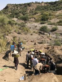 Excavation at Ewass Oldupa uncovering fossils and Oldowan stone tools