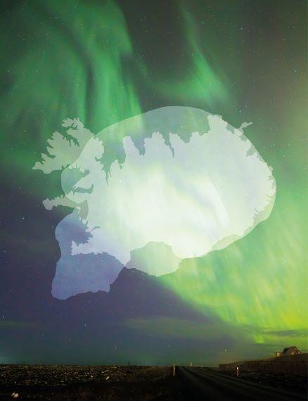Neanderthal skull over Iceland