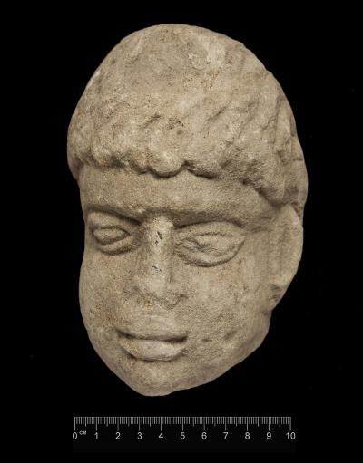 The Stone Head Found at Binchester Fort, County Durham, UK