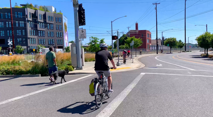 Cyclist and pedestrian in Portland, Oregon