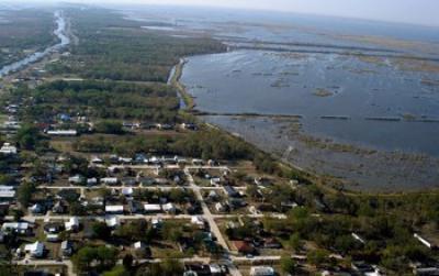 Aerial View of a Coastal Community
