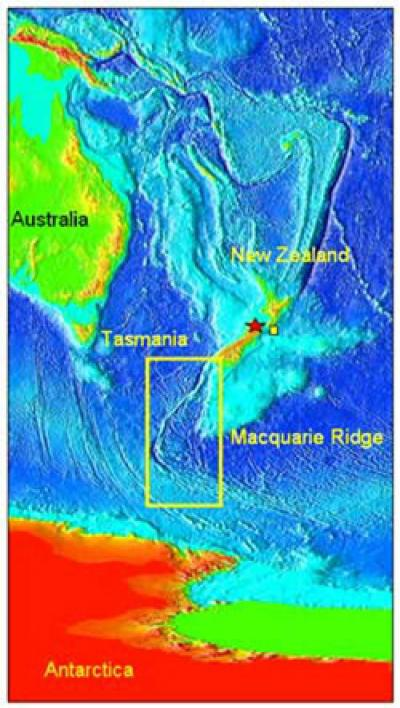 Map Showing the Location of Macquarie Ridge