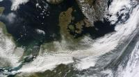 Unlabeled NASA Satellite Image of Volcanic Plume