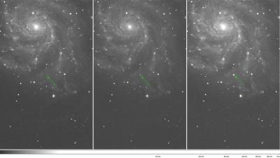 The Arrow Marks PTF 11kly in Images Taken on the Palomar 48-inch Telescope