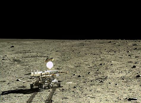 Chinese Rover Setting out across Lunar Crater