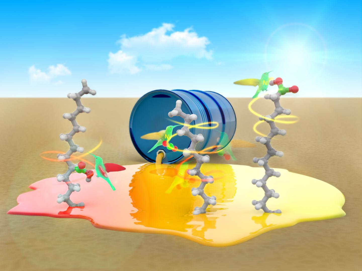 Artist's Conception of Nickel Transforming Hydrocarbons into Fatty Acids
