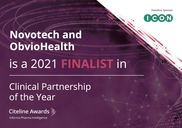 Novotech and ObvioHealth are finalists for the Clinical Partnership of the Year Citeline Award 2021