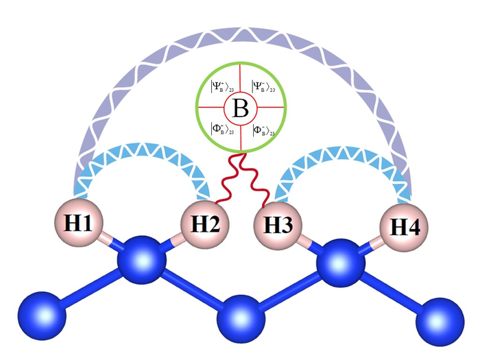 Quantum entangled pair of protons in a solid phase proton-terminated silicon surface
