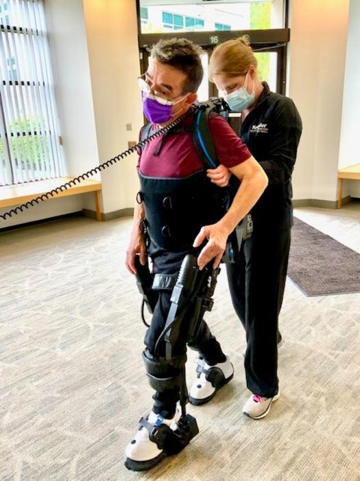 Robotic training session for stroke rehabilitation research at Kessler Foundation.