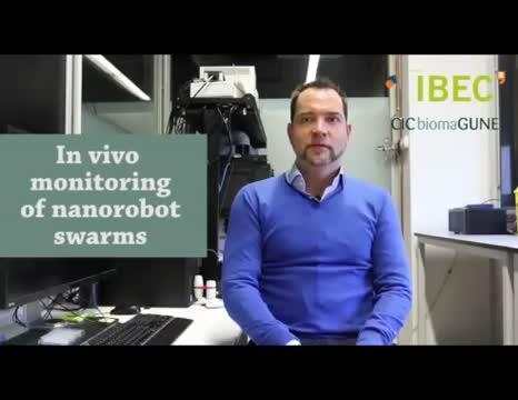 In vivo monitoring of nanorobot swarms