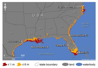 US Southern and Gulf Coasts with Sea Level Rise