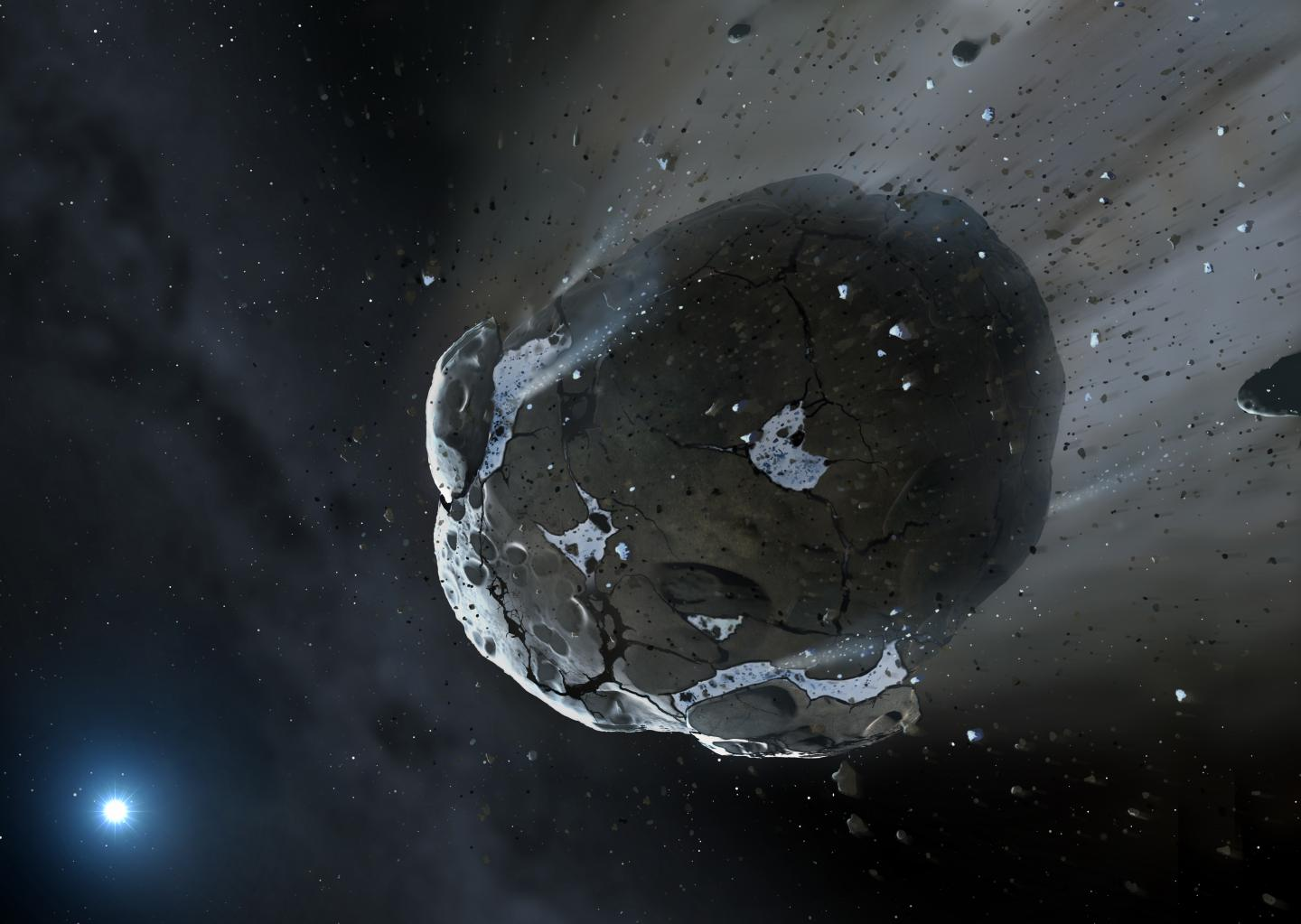 Artist's Impression of a Rocky and Water-Rich Asteroid Being Torn Apart by Strong Gravity
