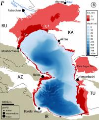 Map Showing the Exact Locations of Caspian Sea Surface Change