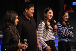 From left, then-high school student Aarthi Vijayakumar, MIT student David Li, and high school students Michelle Sung and Rebecca Li
