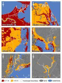 Six Major US East Coast Cities with Sea Level Rise