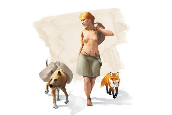 Artistic Representation of a Woman of the Bronze Age Accompanied by a Dog and a Fox
