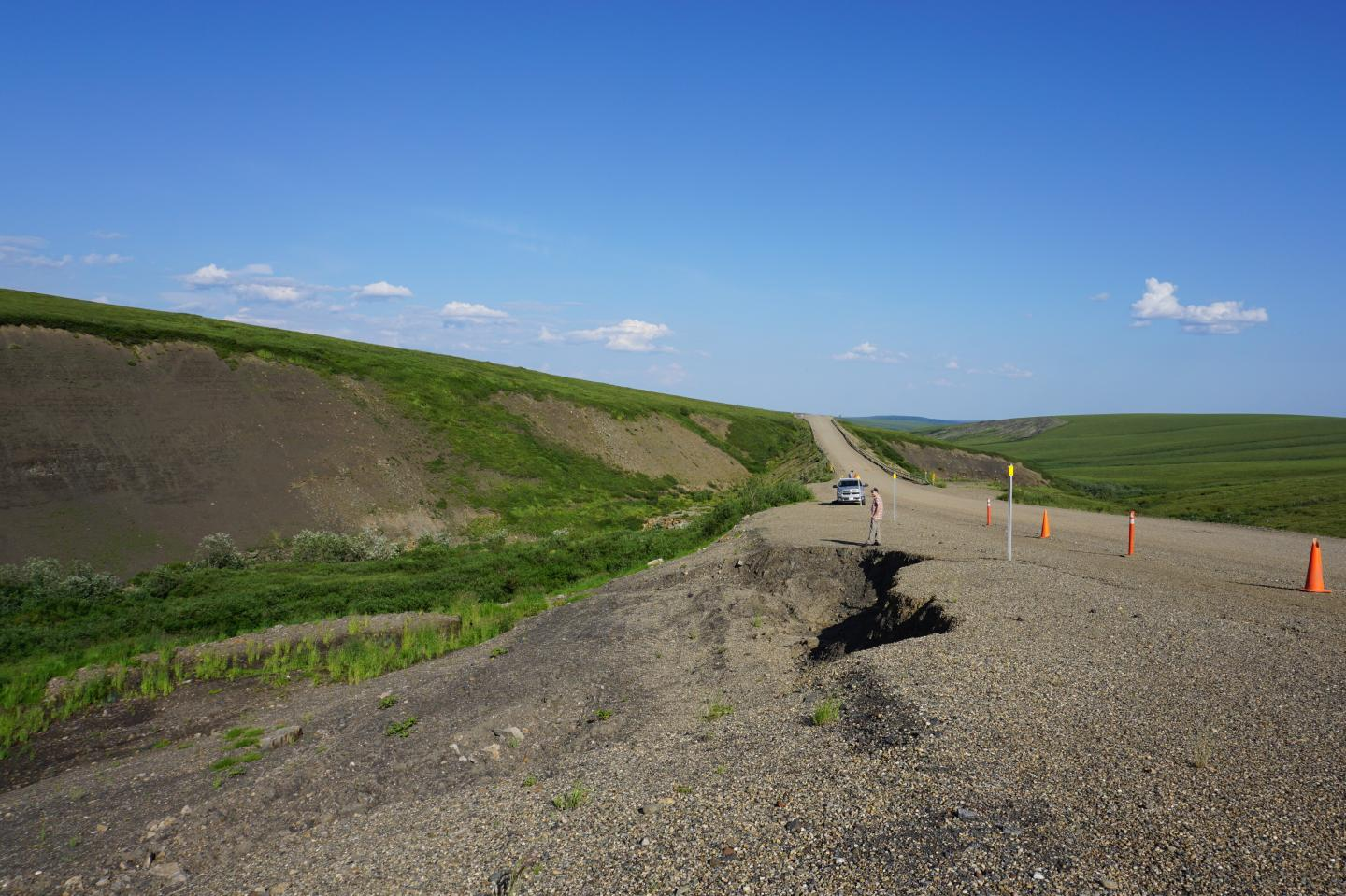 Road Subsidence Caused by Changes in Permafrost