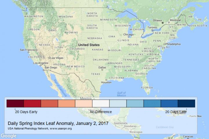 Map Showing Early Arrival of 2017 Spring in the USA