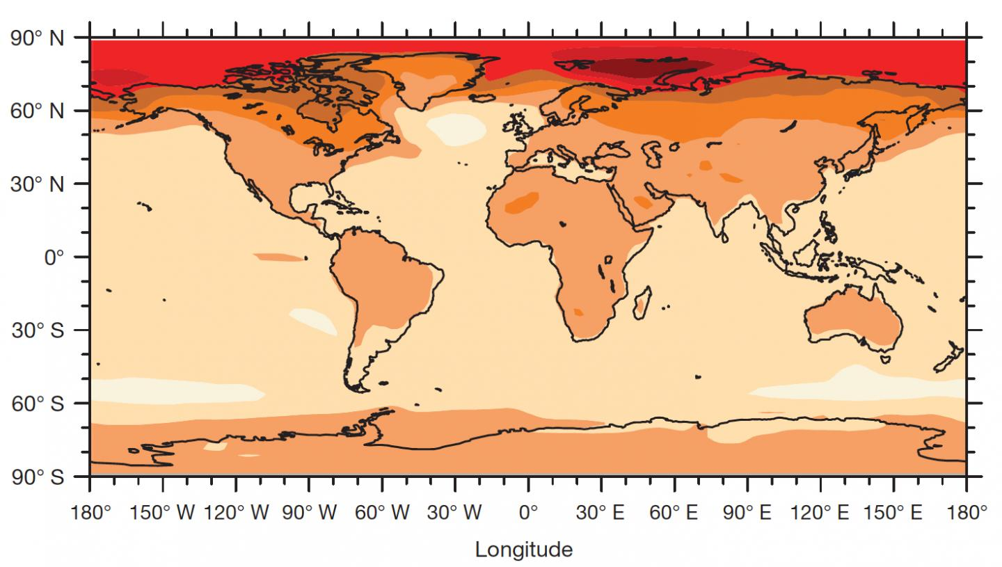 Temperatures Over Land When 2°C Barrier Reached