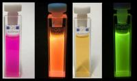 bottles of liquid with fliud/glowing fluid with different colours