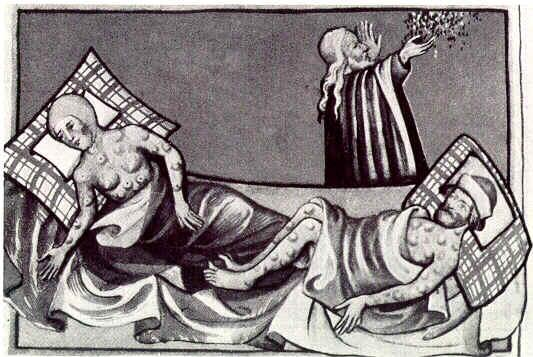 Historical Illustration of People Suffering from Bubonic Plague
