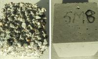 Ordinary Portland cement (left) with cement-free concrete (right)