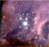 False-Color Near-Infrared Image of the Core of the Young Massive Cluster RCW 38, without Annotation