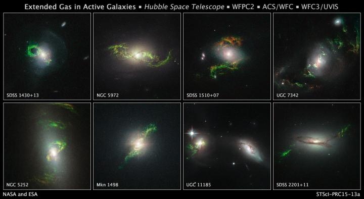 Bizarre, Greenish Looping, Spiral, and Braided Shapes around Eight Active Galaxies