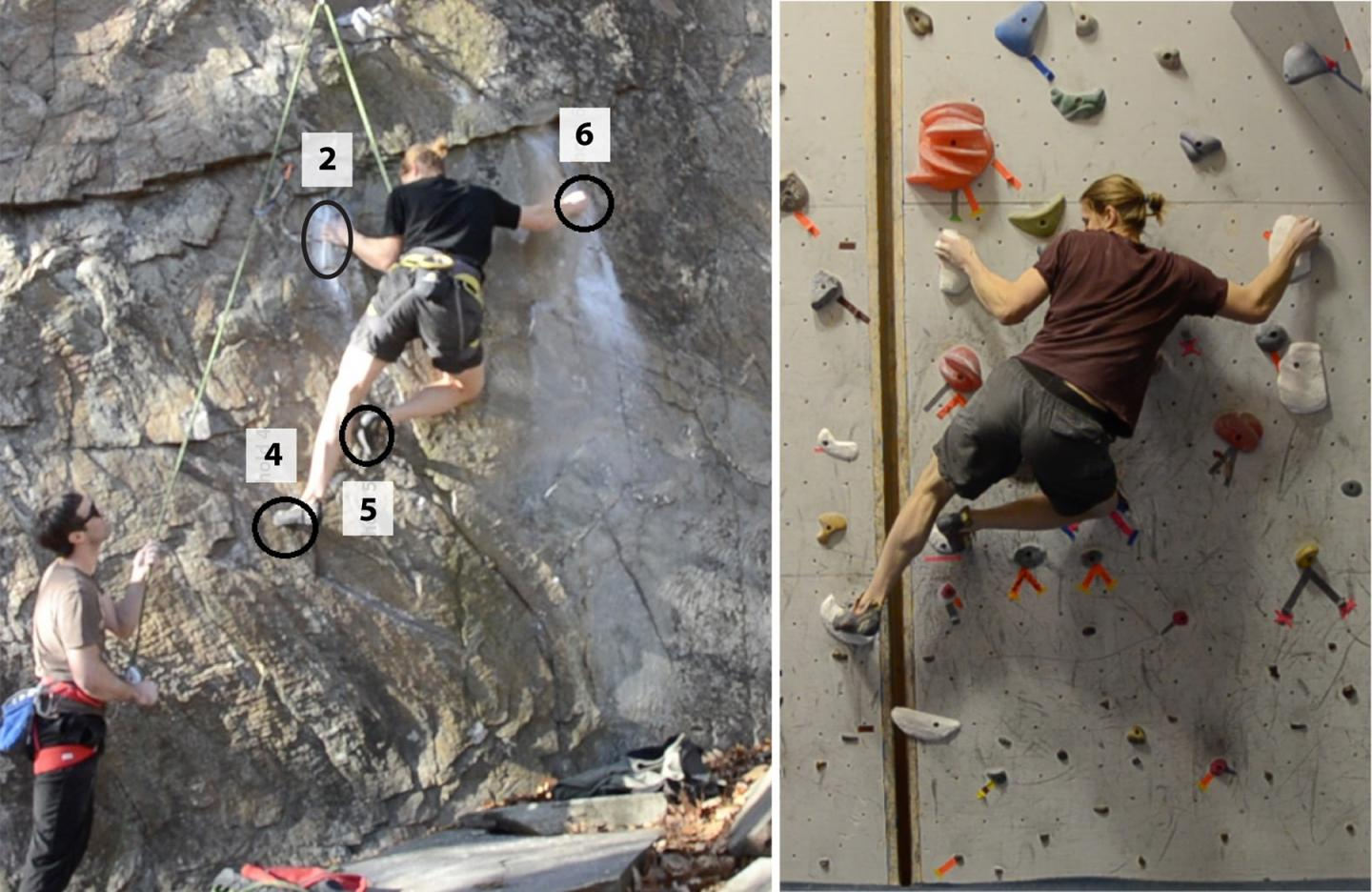 Crux of an Outdoor Climbing Route (Left)  Vs. One Using Fabricated Holds (Right)