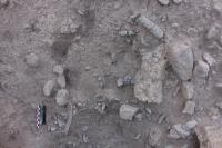Excavations of the pyre pit.