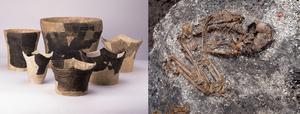 Jomon pottery and skeleton