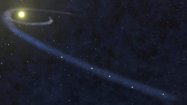 Artist's impression of tidally disrupted interstellar gas cloud