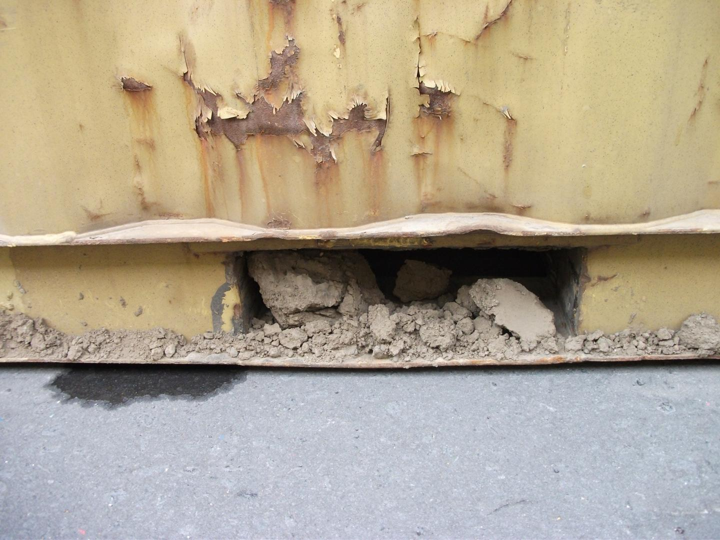 Soil in Sea Container Fork Lift Recess