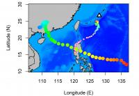 Typhoon Path Between Okinawa and the Philippines