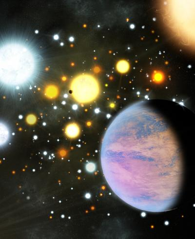 Artist's Impression of Planets in a Dense Star Cluster