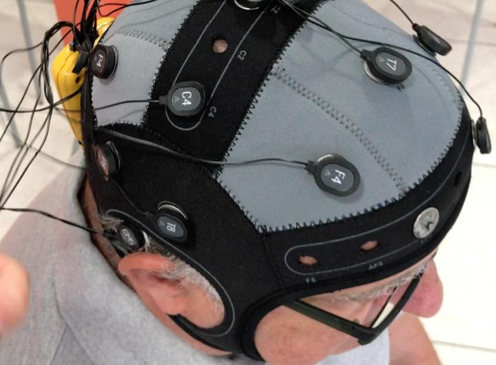Electrodes placed on one of the study participants.