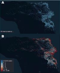 Distribution of ICU beds across all Brazil and superimposition of the COVID-19 death distribution