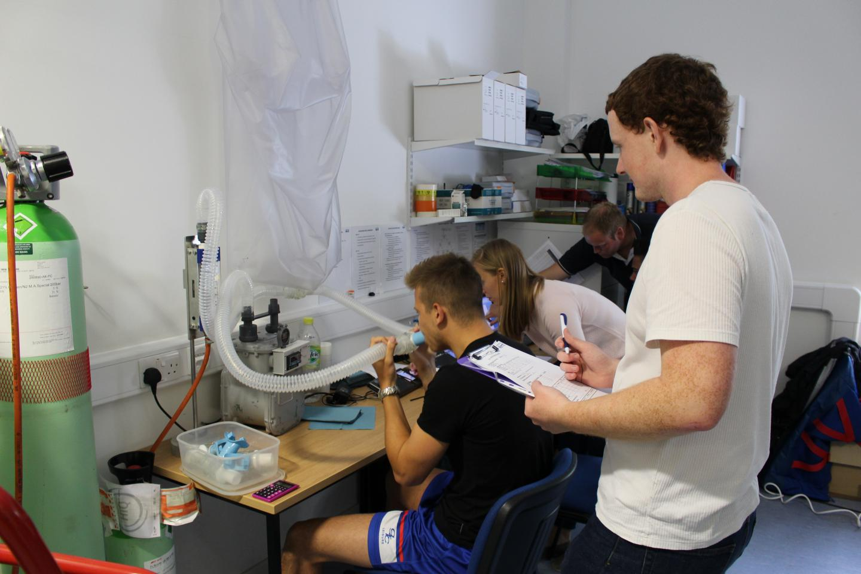 Gillingham FC Football Player Taking Breathing Test