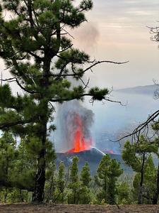 Eruption of Cumbre Vieja high above populated area