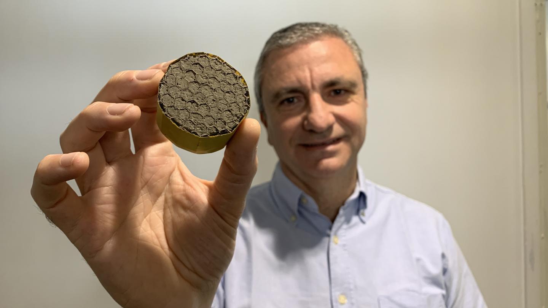 Professor Michele Meo with lightweight aerogel