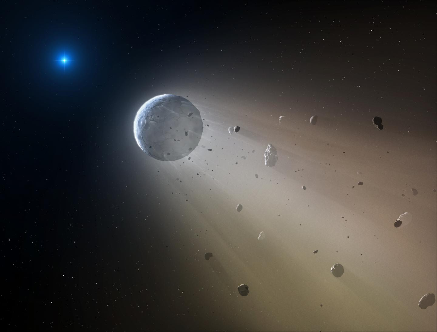 Artist's Conception of Crumbling Asteroid Orbiting White Dwarf