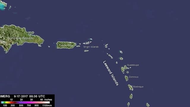 IMERG Video of Maria's Rainfall in the Caribbean