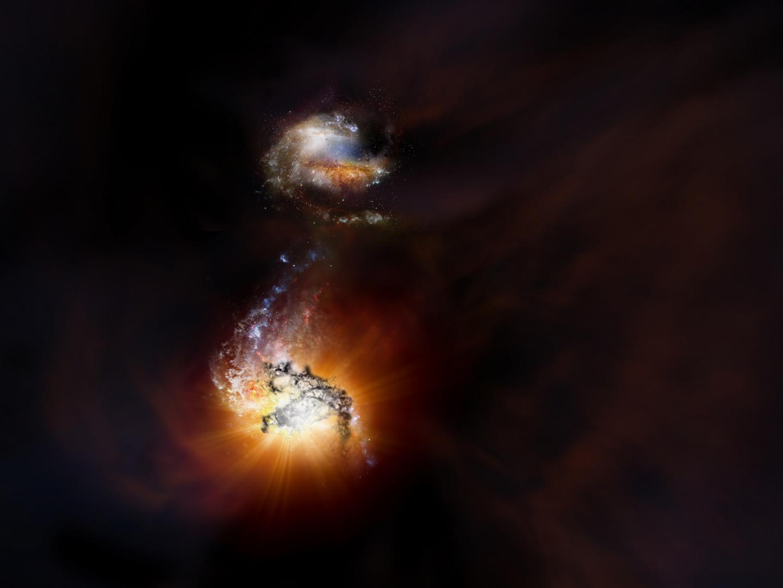 Artist Impression Merging Galaxy