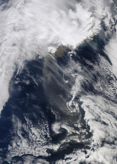 NASA Satellite Image of Volcano Plume -- April 20