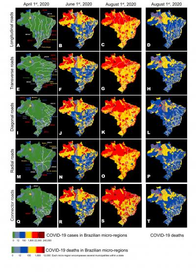 Routes of the main highways and the evolution of the geographic distribution of COVID-19 cases