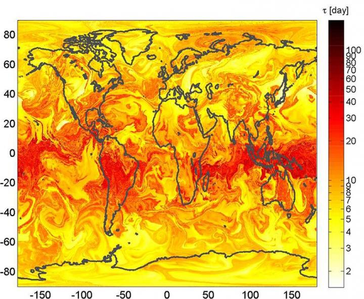 Geographical Distribution of the Lifetime Tau of Particles Initialized Uniformly Over the Globe