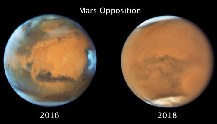 Images of Mars under clear conditions (left) and during the 2018 Global Dust Storm (right).