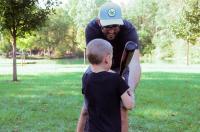 Father & Son Play Baseball