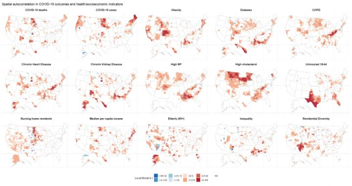 Spatial autocorrelation in COVID-19 mortality and related health and socioeconomic indicators