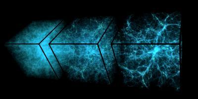Luminous matter distribution as the universe grows